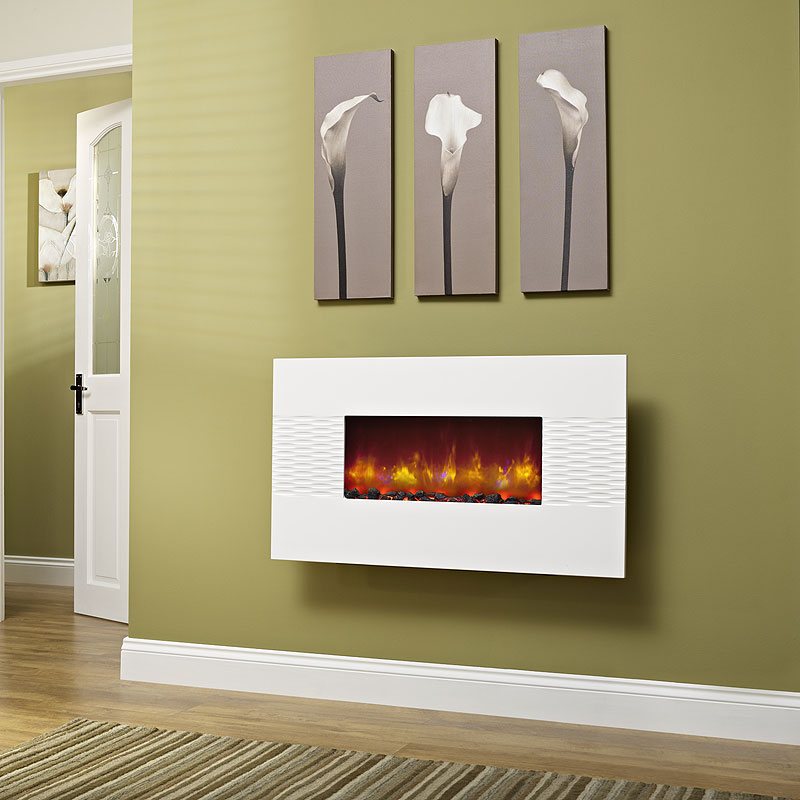 Be Modern Orlando Gloss White Hang on the Wall Electric Fire