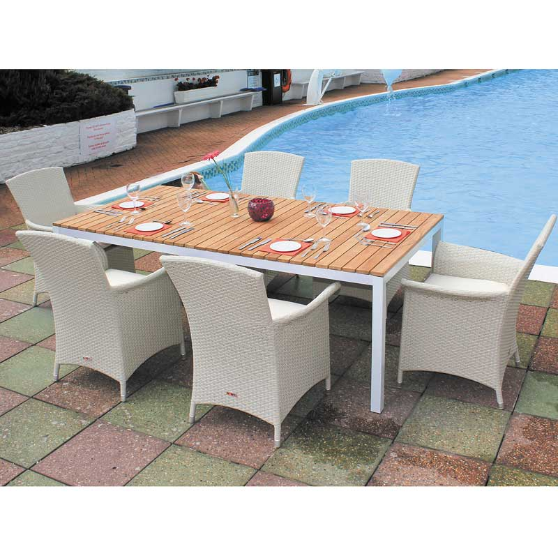 Cozy Bay Panama White 6 Seater Teak Set