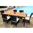 Cozy Bay Barcelona Black Core Weave 6 Seater Teak Set
