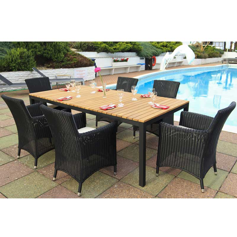 Cozy Bay Hawaii Black Core Weave 6 Seater Teak Set