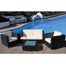 Cozy Bay Oxford Black Super Weave 4 Seater Set