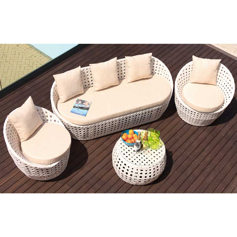 Cozy Bay Peble White Super Weave 4 Seater Set