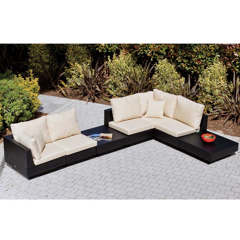 Cozy Bay Chicago Black L-Shaped 4 Seater Set