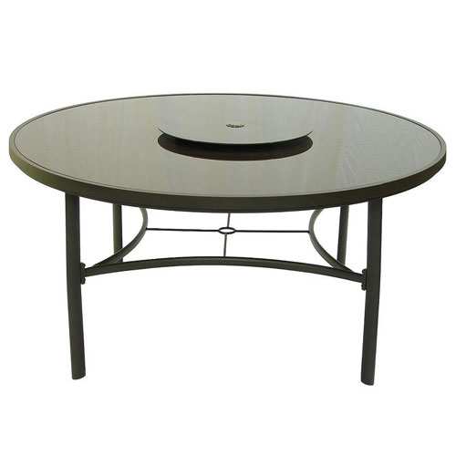 Brown Glass 150cm 3 Legged Round Table with Lazy Susan