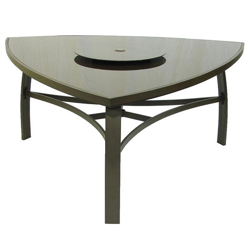 Brown Glass 160cm 3 Legged Triangle Table with Lazy Susan