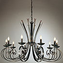 Tamel 10 Arm Chandelier Deluxe Black-Gold-Red