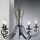 Tamel 5 Arm Chandelier Deluxe Black-Gold-Red