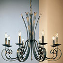 Tamel 8 Arm Chandelier Deluxe Black-Gold-Red