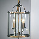 Panelled Lantern 2 Arm Chandelier Antique