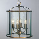 Panelled Lantern 4 Arm Chandelier Antique