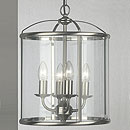 Panelled Lantern 4 Arm Chandelier Satin Nickel