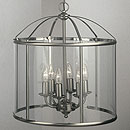 Panelled Lantern 6 Arm Chandelier Satin Nickel