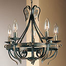 Tamel 5 Arm Chandelier Black-Gold
