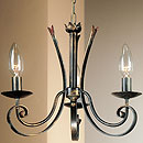 Tamel 3 Arm chandelier Black-Gold-Red