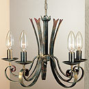 Tamel 5 Arm Chandelier  Black-Gold-Red