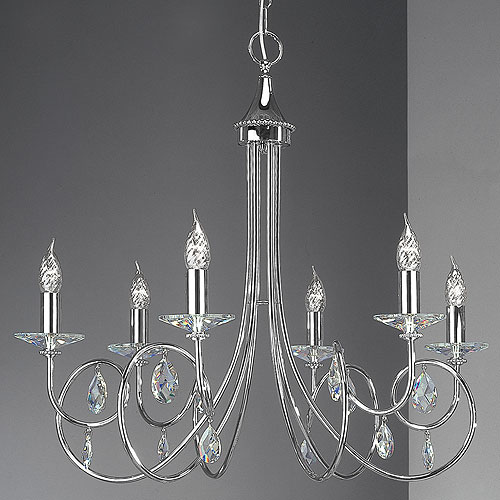 Alejandra 6 Arm Chandelier Chrome