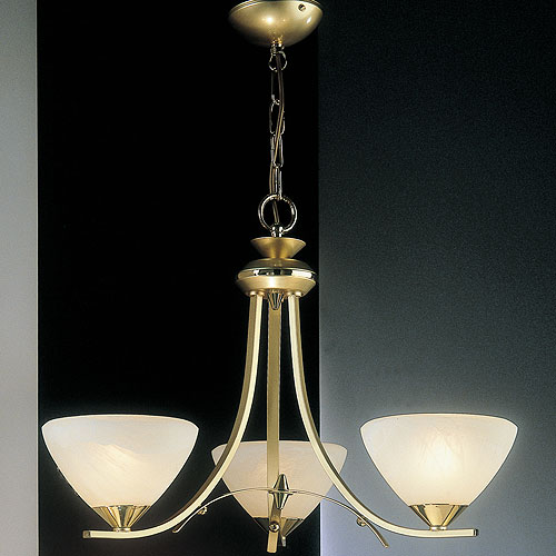 Dorchester 3 Arm Chandelier Satin Brass Cup