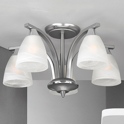 Dorchester 5 Arm Chandelier Satin Nickel