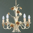 Lafayette 5 Arm Chandelier Cream and Gold