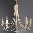 Lecco 5 Arm Chandelier Cream-Gold
