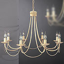 Lecco 8 Arm Chandelier Cream-Gold