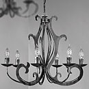 Pompei 6 Arm Chandelier Black-Silver