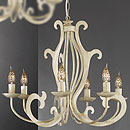 Pompei 6 Arm Chandelier Cream-Gold