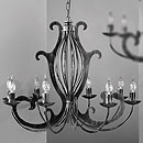Pompei 8 Arm Chandelier Black-Silver