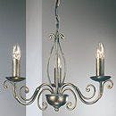 Lafayette 3 Arm Chandelier Black-Silver-Gold