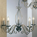 Lafayette 5 Arm Chandelier Black-Silver-Gold