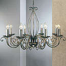 Lafayette 8 Arm Chandelier Black-Silver-Gold