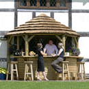 Classic Thatched Lean To Bar Gazebo