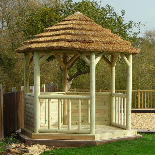 Classic Hexagonal Thatched Roof Gazebo