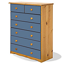 Verona Blue 5plus2 Drawer Chest