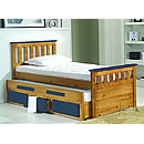 Verona Captains 3ft Blue Bed and Underbed With Storage Bergamo
