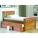 Verona Captains 3ft Pink Bed and Underbed With Storage Bergamo