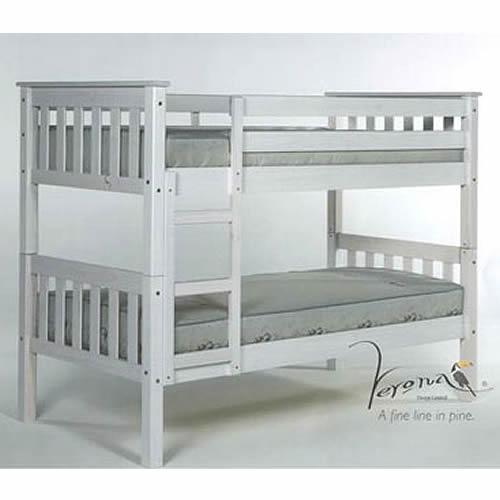 Verona Kids Short White Wash Barcelona Bunk Bed 2ft6in
