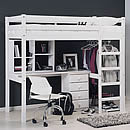 Verona Rimini High Bed White Wash Student Set with 4drawer Bedside