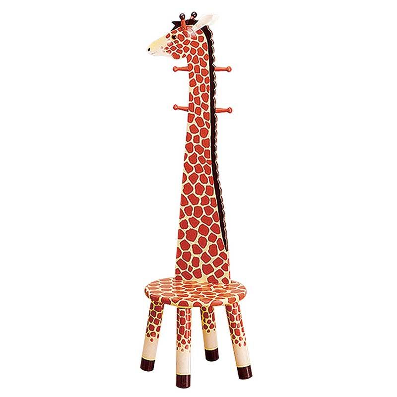 Safari Giraffe High Backed Stool With Coat Rack