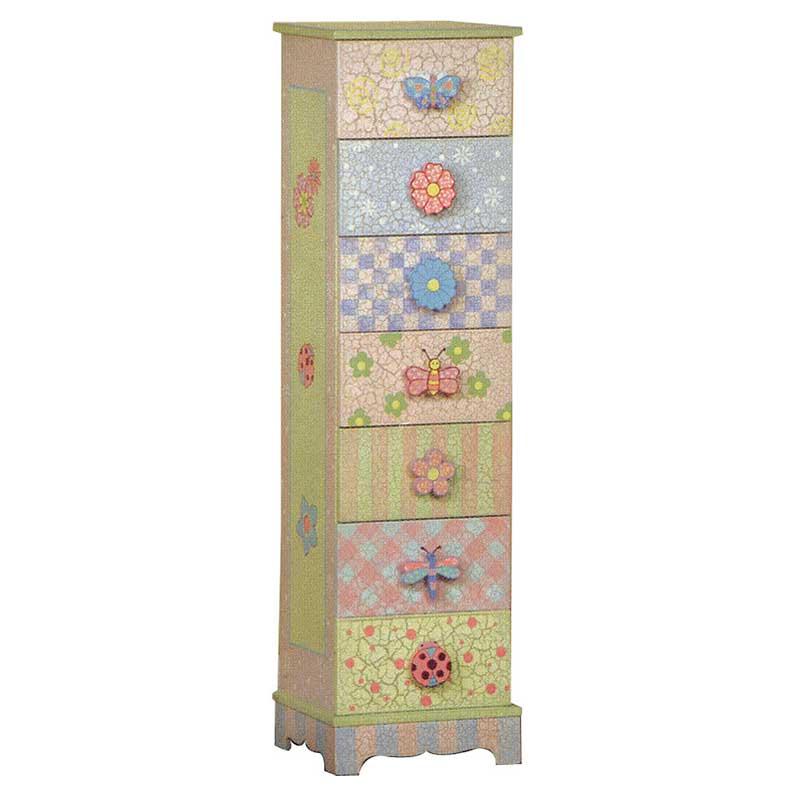 Crackle Finish 7 Drawer Cabinet
