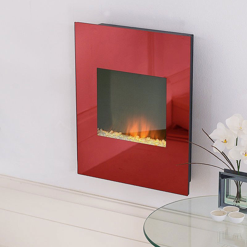 Costa Shimmer Red Glass Electric Fire